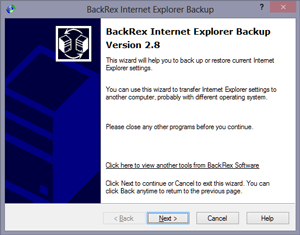 BackRex Internet Explorer Backup screenshot