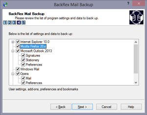 BackRex Mail Backup Screen shot
