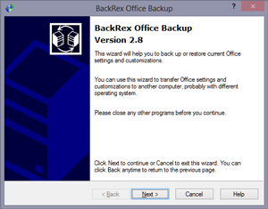 BackRex Office Backup Screen shot
