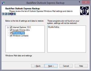 BackRex Outlook Express Backup Screen shot
