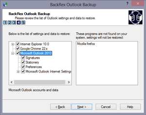 BackRex Outlook Backup Screen shot